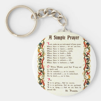 simple prayer by St. Francis of Assisi Keychain