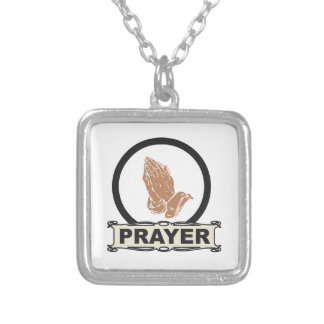 Simple prayer silver plated necklace