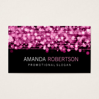 Simple Professional Pink Lights & Sparkles Business Card