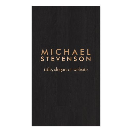 Simple Professional Wood Grain Look Black Business Card Templates