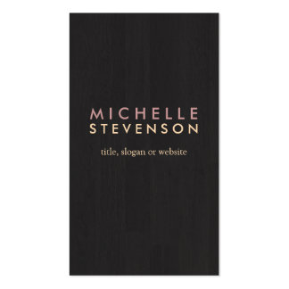 Simple Professional Wood Grain Look Black Business Cards