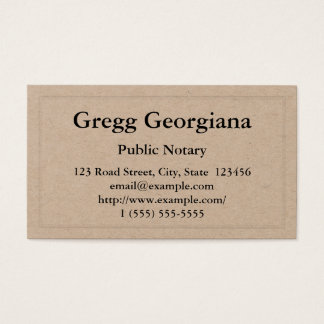 Simple Public Notary Business Card