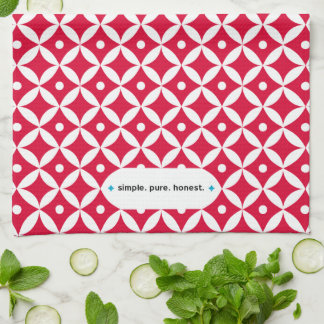 Simple. Pure. Honest - Red & White Kitchen Towel