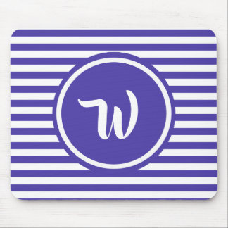 Simple Purple and White Stripes Striped Initials Mouse Pad