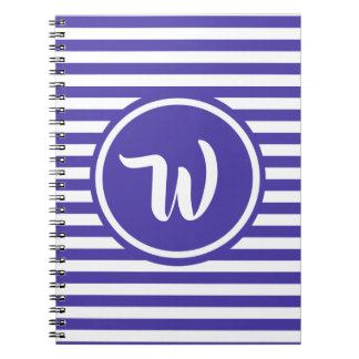 Simple Purple and White Stripes Striped Initials Notebook