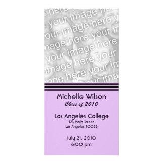 simple purple black graduation photo cards