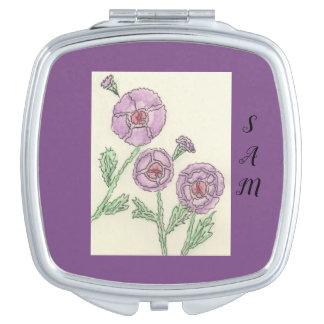 Simple Purple Flowers Travel Mirror