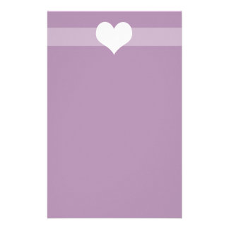 Simple Purple Heart Stationary Customized Stationery