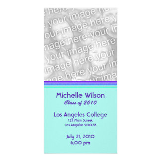 simple purple turquoise graduation picture card