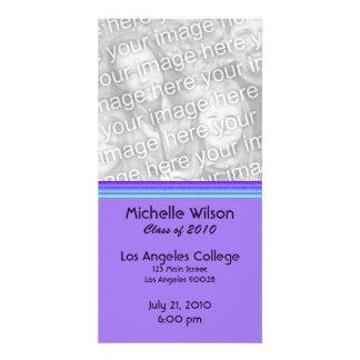 simple purple turquoise graduation custom photo card