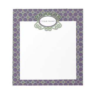 Simple Quatrefoil Pattern in Purple and Lime Green Notepad