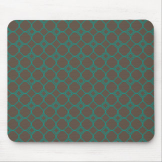 Simple Quatrefoil Pattern in Teal and Taupe Mouse Pad