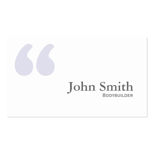 Simple Quotes Bodybuilding Business Card