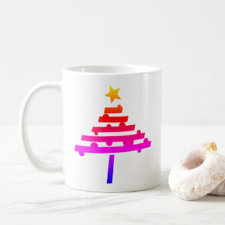 Simple Rainbow Christmas Tree with a Star Coffee Mug