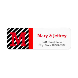 Simple Red and Striped Return Address Labels