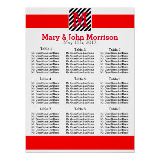 Simple Red and Striped Wedding Seating Chart