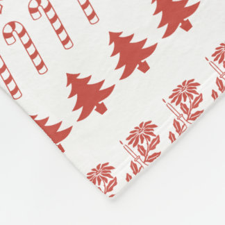 Simple Red and White Rows Christmas Pattern (L) Fleece Blanket