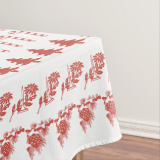 Simple Red and White Rows Christmas Pattern (L) Tablecloth
