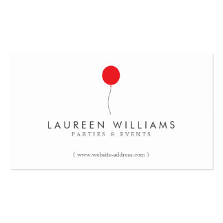 Simple Red Balloon Event Planner, Party Planner Business Card Template