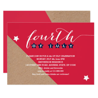 Simple red blue typography stars 4th of July kraft Card