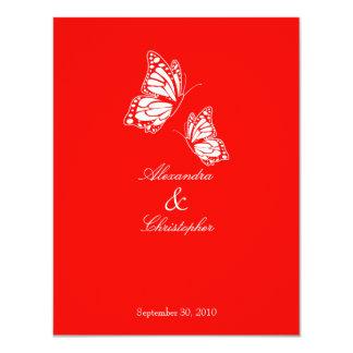 Simple Red Butterflies Wedding Announcement