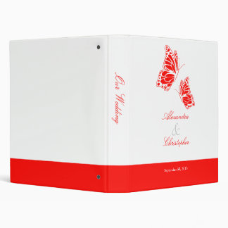 Simple Red Butterfly Wedding Planner Album 3 Ring Binders