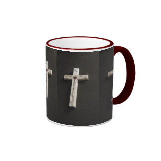 Simple red cross cup ringer coffee mug