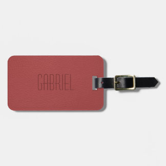 Simple Red Faux Leather Look Monogram Luggage Tag