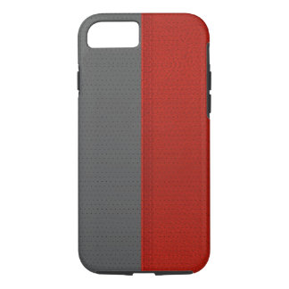 Simple Red & Gray Faux Leather Print iPhone 8/7 Case