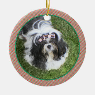 Simple Red & Green Stripes Ornament • Pets Babies