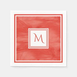 Simple Red Orange Subtle Marble Modern Monogram Paper Napkins