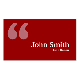 Simple Red Quotes Life Coach Business Card