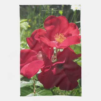 Simple Red Roses Kitchen Towel