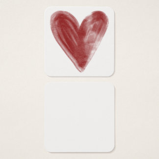 Simple, Red, Watercolor Heart on Personal Notes Square Business Card