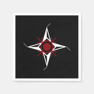 Simple Red & White North Star on Black Background Disposable Napkins