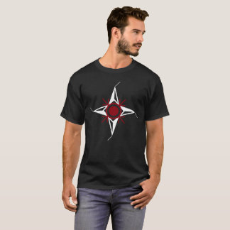 Simple Red & White North Star on Black Background T-Shirt