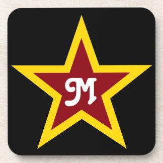 Simple Red & Yellow Star Custom Monogram on Black Coaster