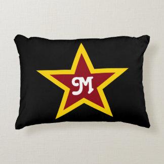 Simple Red & Yellow Star Custom Monogram on Black Decorative Pillow