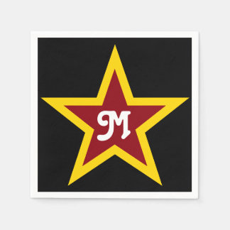 Simple Red & Yellow Star Custom Monogram on Black Disposable Napkin