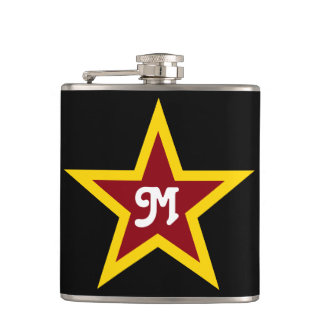 Simple Red & Yellow Star Custom Monogram on Black Hip Flask