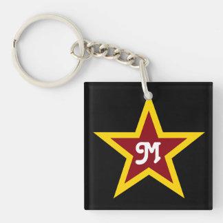 Simple Red & Yellow Star Custom Monogram on Black Keychain