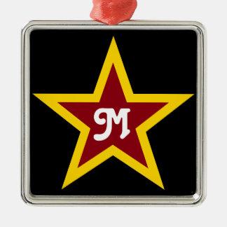Simple Red & Yellow Star Custom Monogram on Black Metal Ornament