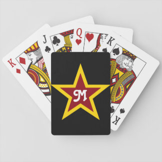 Simple Red & Yellow Star Custom Monogram on Black Playing Cards