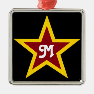 Simple Red & Yellow Star Custom Monogram on Black Silver-Colored Square Ornament