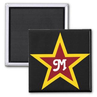 Simple Red & Yellow Star Custom Monogram on Black Square Magnet