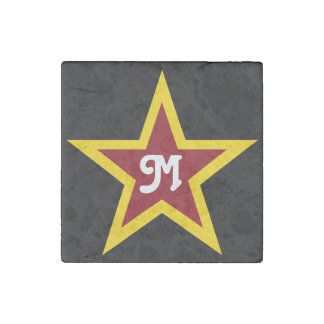 Simple Red & Yellow Star Custom Monogram on Black Stone Magnets