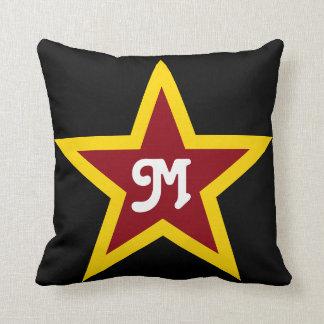Simple Red & Yellow Star Custom Monogram on Black Throw Pillow