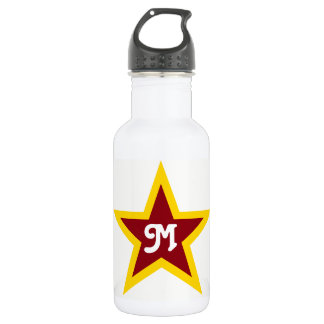 Simple Red & Yellow Star Custom Monogram on White 532 Ml Water Bottle
