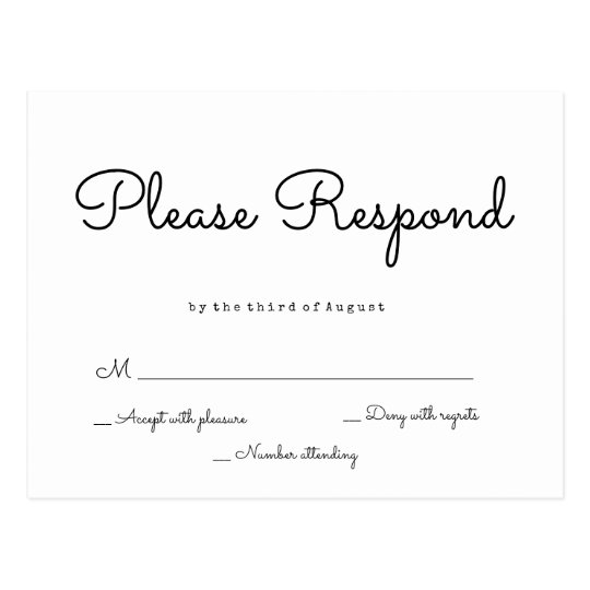 Simple response wedding rsvp postcards