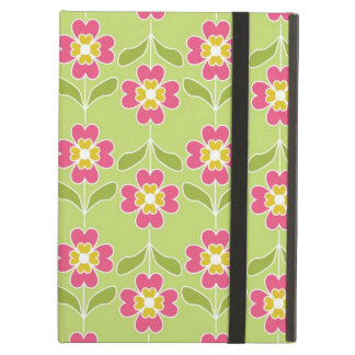 Simple Retro Floral Pattern Pink Flowers On Lime Case For iPad Air